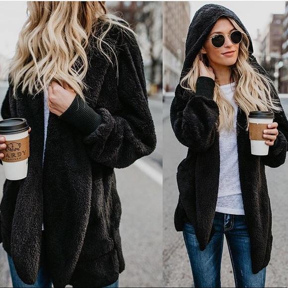 1c850344e 🆕Noa Black Teddy Slouchy Oversized Sweater Jacket Boutique